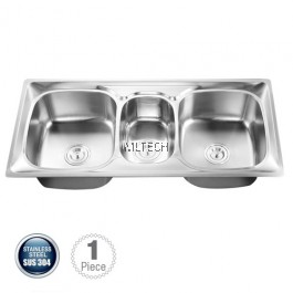 AMKS-1054923 Top Mount Triple Bowl Kitchen Sink With S/S Waste
