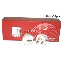 13A & 15A Plug Tops - Resilient (PC), White, c/w Neon