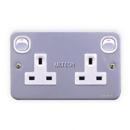Metal Clad Sockets - 13A Twin Switch Socket Outlet