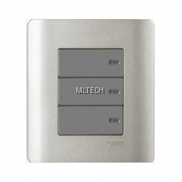 Zencelo - 16AX/20A 3 Gang 1 Way Full-Flat Switch With Ondicator, Silver Satin