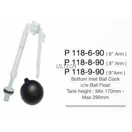 Bottom Inlet Ball Cock c/w Ball Float (Tank Height : Min 170mm - Max 290mm)