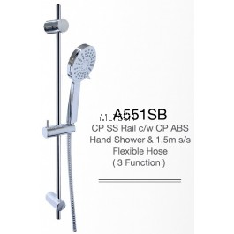 A551SB CP SS Rail c/w CP ABS Hand Shower & 1.5m s/s Flexible Hose (3 Function)
