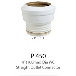 "P450 4"" (100mm) Dia WC Straight Outlet Connector"