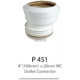 "P451 4"" (100mm) x 20mm WC Outlet Connector"