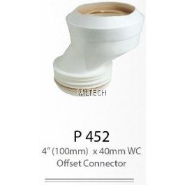 "P452 4"" (100mm) x 40mm WC Offset Connector"