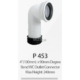 "P453 4"" (100mm) x 90mm Degree Bend WC Outlet Connector (Max Height: 240mm)"