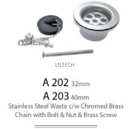 32mm/40mm Stainless Steel Waste c/w Chromed Brass Chain with Bolt & Nut & Brass Screw