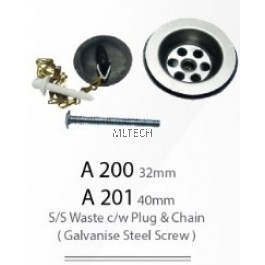32mm/40mm S/S Waste c/w Plug & Chain (Galvanise Steel Screw)
