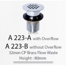 A223-A 32mm CP Brass Flow Waste With Overflow (Height: 80mm)