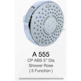 "A555 CP ABS 5"" Dia Shower Rose (5 Function)"