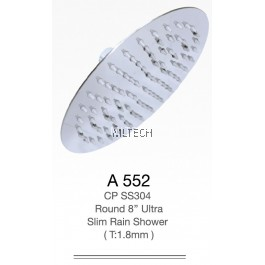 "A552 CP SS304 Round 8"" Ultra Slim Rain Shower (T: 1.8mm)"