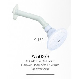 "A502/6 ABS 4"" Dia Ball Joint Shower Rose c/w L125mm Shower Arm"