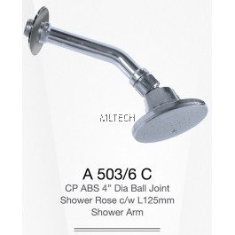 "A503/6C CP ABS 4"" Dia Ball Joint Shower Rose c/w L125mm Shower Arm"