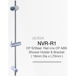 NVR-R1 CP S/Steel Rail c/w CP ABS Shower Holder & Bracket (18mm Dia x L70mm)