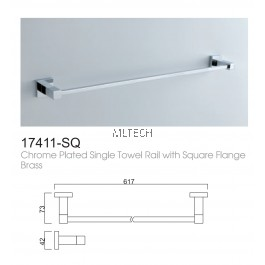 17411-SQ Chrome Plated Single Towel Rail With Square Flange Brass