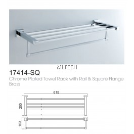 17414-SQ Chrome Plated Towel Rack With Rail & Square Flange Brass