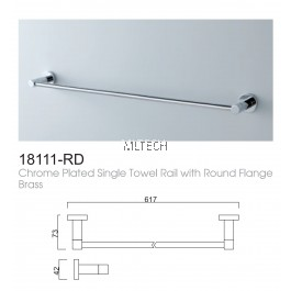 18111-RD Chrome Plated Single Towel Rail With Round Flange Brass