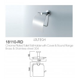 18110-RD Chrome Plated Toilet Roll Holder With Cover & Round Flange Brass & Stainless Steel 304