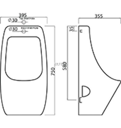 EZYFLIK VALENCIA (D3) Wall Hung Urinal (Top & Back Inlet)
