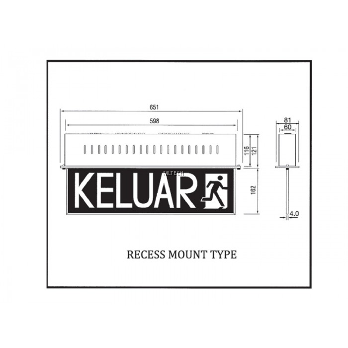 self-contained emergency keluar sign