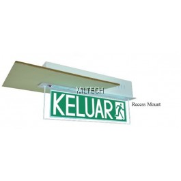 Self-Contained Emergency Keluar Sign - PEX-138R-LED (Recess mount)