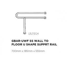 Novatec Grab Bar Series SS Wall To Floor U Shape Support Rail - GBAR-UWF