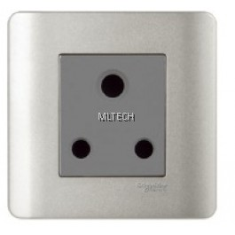 Zencelo - 15A 1 Gang 3 Round Pin Socket With Shutter, Silver Satin